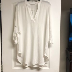 Ladies tunic blouse sheer white size L.